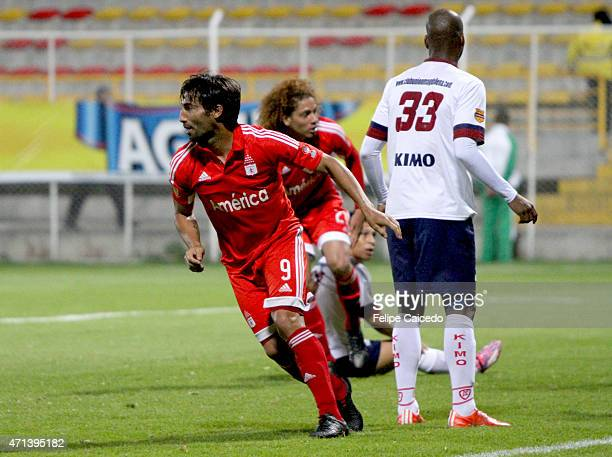 Ernesto Farias of America de Cali celebrates after scoring the first goal of his team against Union Magdalena during a match between America de Cali...
