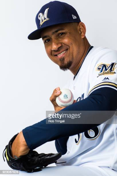 Ernesto Frieri of the Milwaukee Brewers poses for a portrait during Photo Day at the Milwaukee Brewers Spring Training Complex on February 22 2018 in...