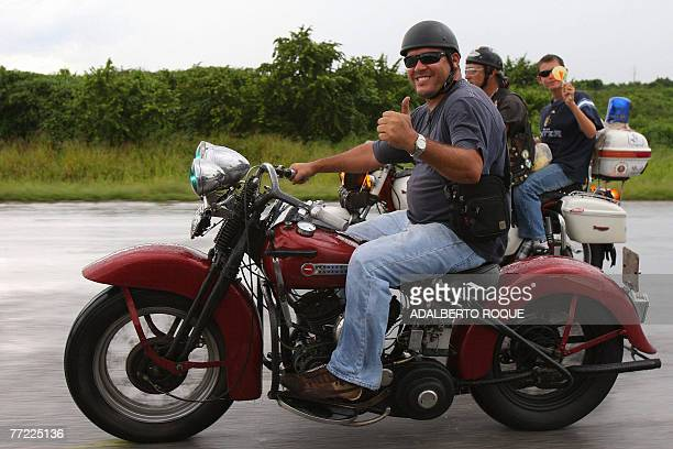 Ernesto Guevara March the youngest son of revolutionary leader Ernesto Che Guevara gives his thumb up as he joins a group of Harley Davidson fanatics...