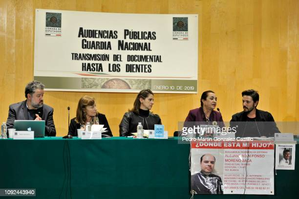 Ernesto Lopez Portillo Vargas Tatiana Clouthier Mexican politician Martha Tagle Martínez Lucia Baca and Mexican actor Diego Luna attend the screening...