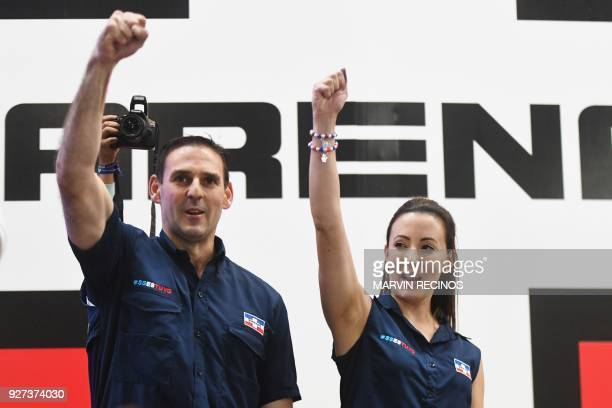 Ernesto Muyshondt Mayoral candidate for San Salvador and his wife Karla Belismelis of Muyshondt celebrate victory with supporters at the rightwing...