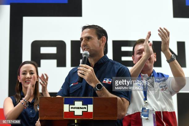 Ernesto Muyshondt , Mayoral candidate for San Salvador celebrates victory with supporters at the right-wing Nationalist Republican Alliance...