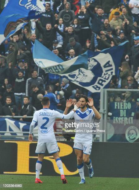 Ernesto Torregrossa of Brescia Calcio celebrates after scoring the opening goal from the penalty spotduring the Serie A match between Bologna FC and...