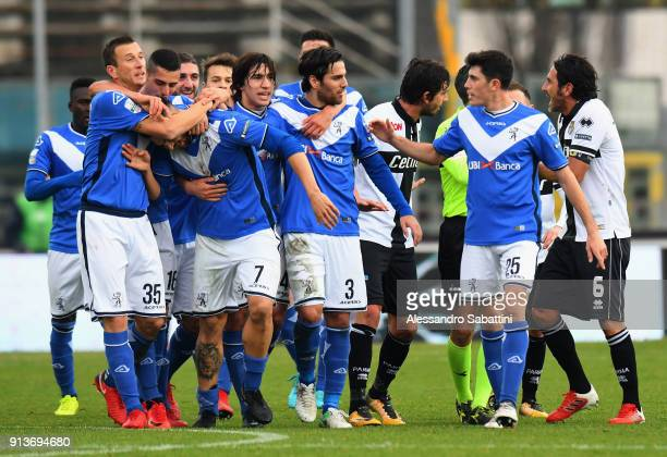 Ernesto Torregrossa of Brescia Calcio celebrates after scoring the opening goal during the Serie B match between Brescia Calcio and Parma Calcio at...