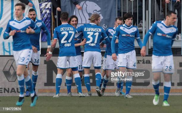 Ernesto Torregrossa of Brescia Calcio celebrates with his teammates his second goal during the Serie A match between Brescia Calcio and Cagliari...
