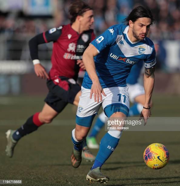 Ernesto Torregrossa of Brescia Calcio in action during the Serie A match between Brescia Calcio and Cagliari Calcio at Stadio Mario Rigamonti on...