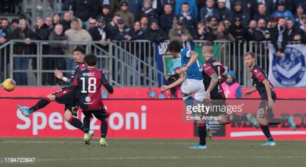 Ernesto Torregrossa of Brescia Calcio scores his second goal during the Serie A match between Brescia Calcio and Cagliari Calcio at Stadio Mario...