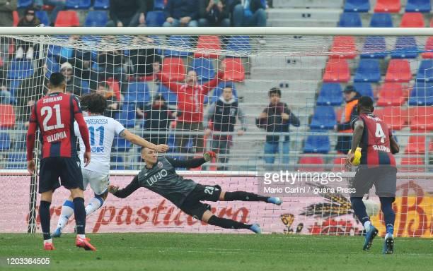Ernesto Torregrossa of Brescia Calcio scores the opening goal from the penalty spotduring the Serie A match between Bologna FC and Brescia Calcio at...