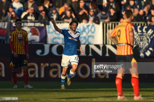 Ernesto Torregrossa of Brescia celebrates after scoring the openin goal during the Serie A match between Brescia Calcio and US Lecce at Stadio Mario...