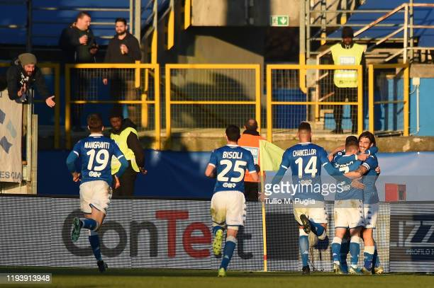 Ernesto Torregrossa of Brescia celebrates after scoring the openin goal during the Serie A match between Brescia Calcio and US Lecce at Stadio Mario...