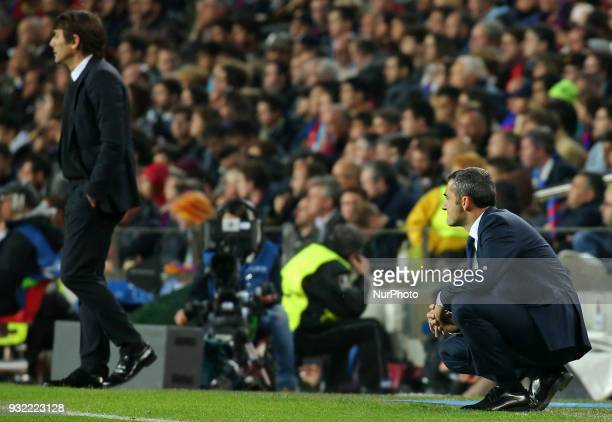 Ernesto Valverde and Antonio Conte during the match between FC Barcelona and Chelsea FC for the secong leg of the 1/8 final of the UEFa Champions...