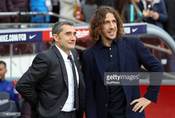 Ernesto Valverde and Carles Puyol during the match between FC Barcelona and Deportivo Alaves corresponding to the week 18 of the Liga Santander...