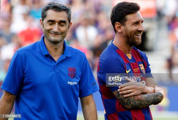 Ernesto Valverde and Leo Messi during the presentation of the team 201920 before the match between FC Barcelona and Arsenal FC corresponding to the...