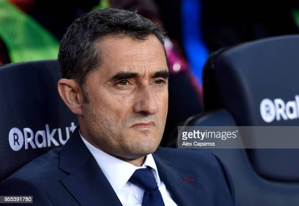 Ernesto Valverde coach of Barcelona looks on prior to the La Liga match between Barcelona and Real Madrid at Camp Nou on May 6 2018 in Barcelona Spain
