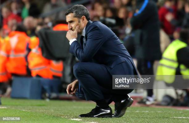 Ernesto Valverde during the match between FC Barcelona and Club Deportivo Leganes played at the Camp Nou Stadium on 07th April 2018 in Barcelona Spain