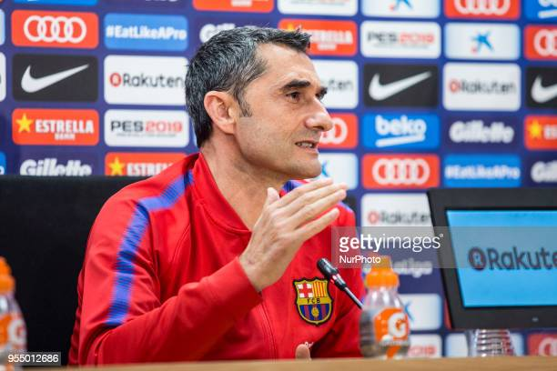 Ernesto Valverde during the press conference before La Liga match between FC Barcelona and Real Madrid on May 5 2018 at Ciutat Joan Gamper in...