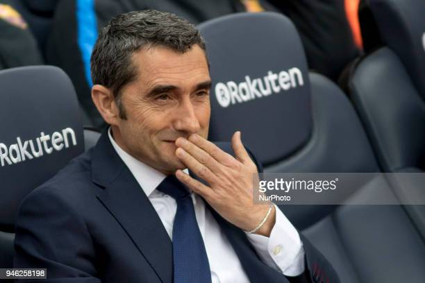 Ernesto Valverde during the spanish football league La Liga match between FC Barcelona and Valencia CF at the Camp Nou Stadium in Barcelona Catalonia...
