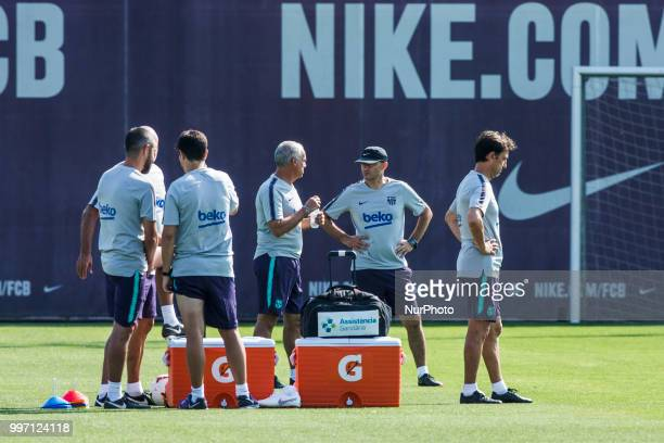 Ernesto Valverde from Spain and his staff during the first FC Barcelona training session of the 2018/2019 La Liga pre season in Ciutat Esportiva Joan...