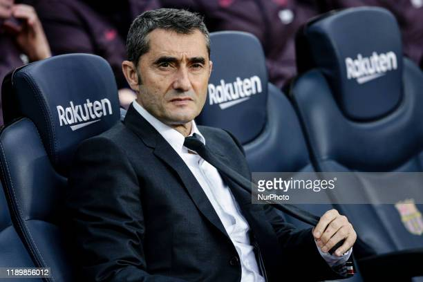 Ernesto Valverde from Spain of FC Barcelona during La Liga match between FC Barcelona and Deportivo Alaves at Camp Nou on December 21 2019 in...