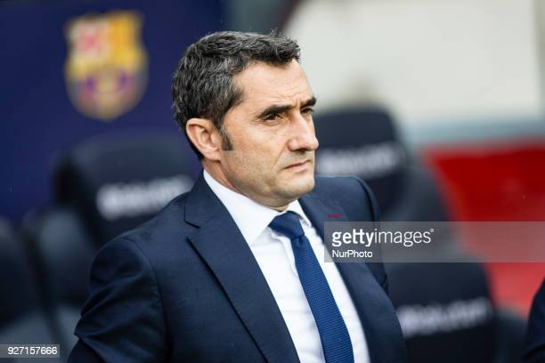 Ernesto Valverde from Spain of FC Barcelona during La Liga match between FC Barcelona v Atletico de Madrid at Camp Nou Stadium in Barcelona on 04 of...