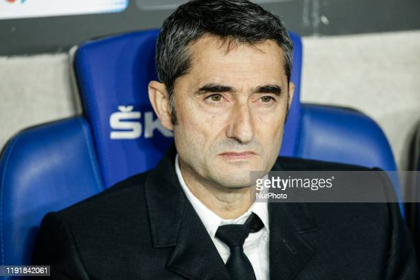 Ernesto Valverde from Spain of FC Barcelona during La Liga match between RCD Espanyol and FC Barcelona and at RCD Stadium on January 04 2020 in...