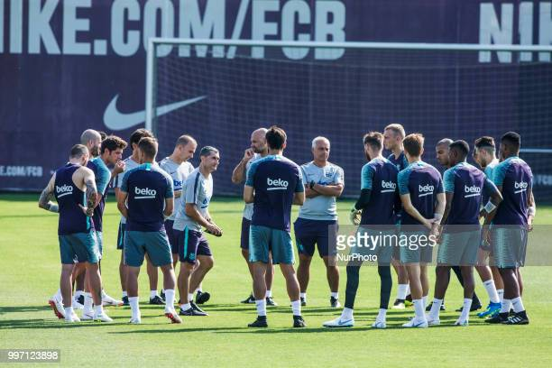 Ernesto Valverde from Spain of FC Barcelona talking to of his players during the first FC Barcelona training session of the 2018/2019 La Liga pre...