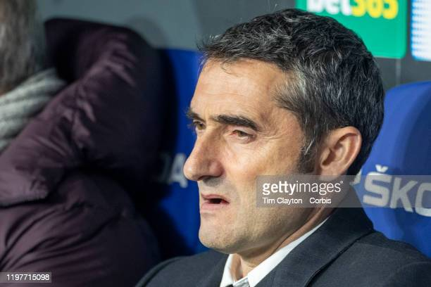 January 04: Ernesto Valverde, head coach of Barcelona, in the dugout during the Espanyol V Barcelona, La Liga regular season match at RCDE Stadium on...