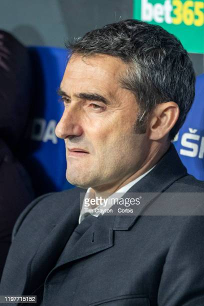 Ernesto Valverde head coach of Barcelona in the dugout during the Espanyol V Barcelona La Liga regular season match at RCDE Stadium on January 4th...