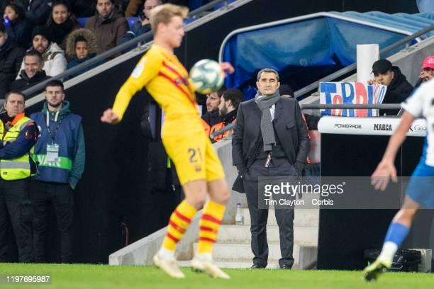 Ernesto Valverde head coach of Barcelona watching Frenkie de Jong of Barcelona in action during the Espanyol V Barcelona La Liga regular season match...