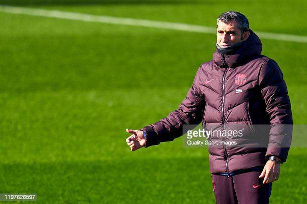 Ernesto Valverde head coach of FC Barcelona during a training session at Estadi Johan Cruyff on January 05 2020 in Barcelona Spain