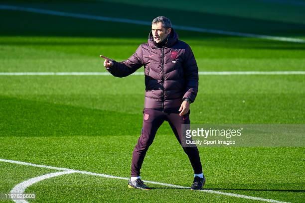 Ernesto Valverde, head coach of FC Barcelona during a training session at Estadi Johan Cruyff on January 05, 2020 in Barcelona, Spain.
