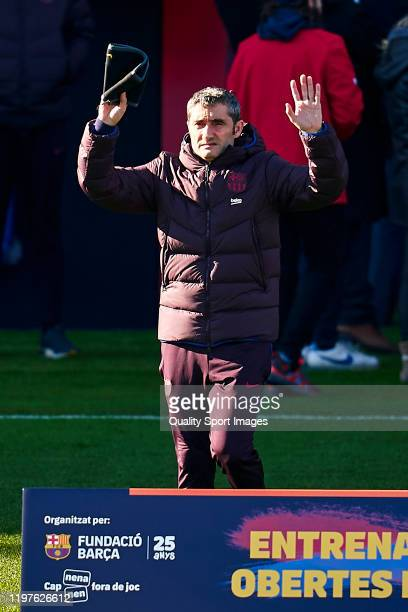 Ernesto Valverde head coach of FC Barcelona during a training session at Estadi Johan Cruyff on January 05 2020 in Barcelona Spain