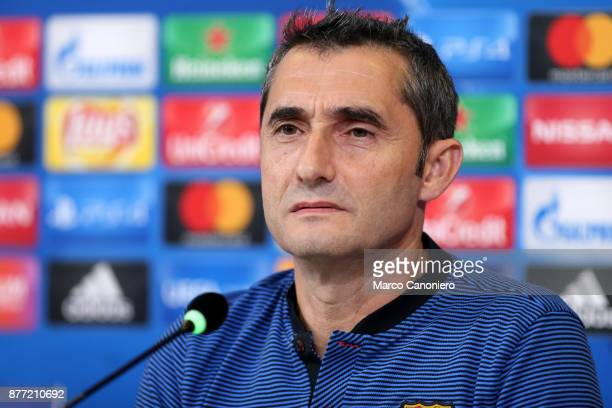 Ernesto Valverde head coach of Fc Barcelona during the Fc Barcelona press conference on the eve of the UEFA Champions League football match between...