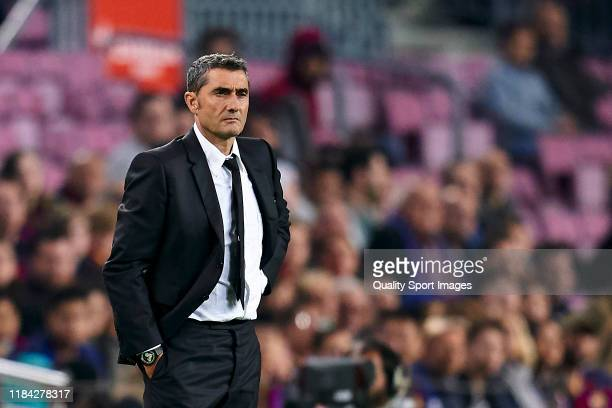 Ernesto Valverde, head coach of FC Barcelona during the Liga match between FC Barcelona and Real Valladolid CF at Camp Nou on October 29, 2019 in...
