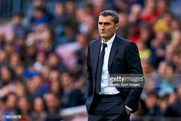Ernesto Valverde, head coach of FC Barcelona during the Liga match between FC Barcelona and Deportivo Alaves at Camp Nou on December 21, 2019 in...