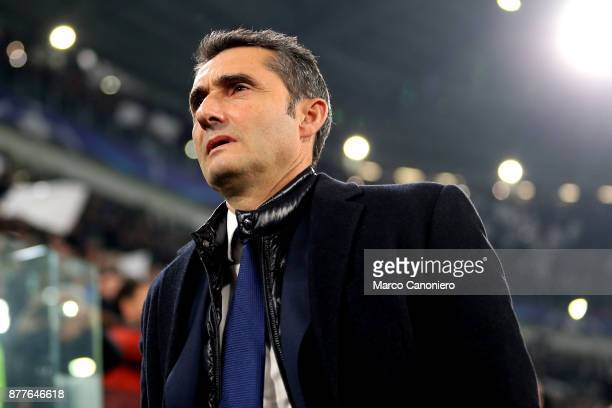Ernesto Valverde head coach of Fc Barcelona looks on before the UEFA Champions League group D match between Juventus FC and Fc Barcelona The match...