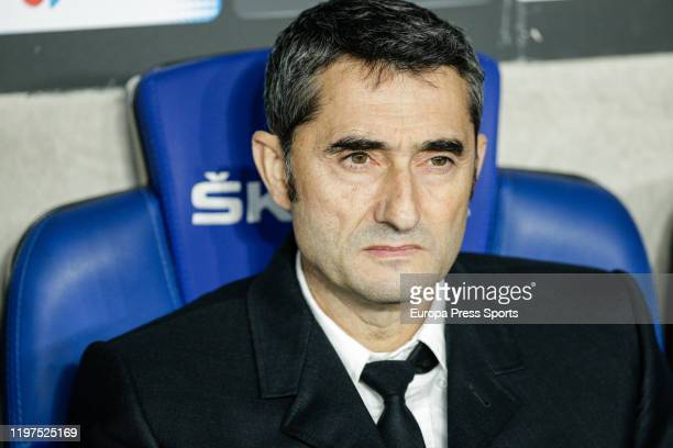 Ernesto Valverde head coach of FC Barcelona looks on during the Spanish League La Liga football match played between RCD Espanyol and FC Barcelona at...