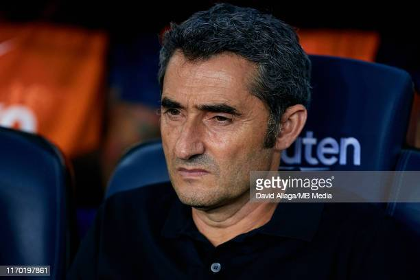 Ernesto Valverde head coach of FC Barcelona looks on prior to the Liga match between FC Barcelona and Real Betis Balompie at Camp Nou on August 25,...