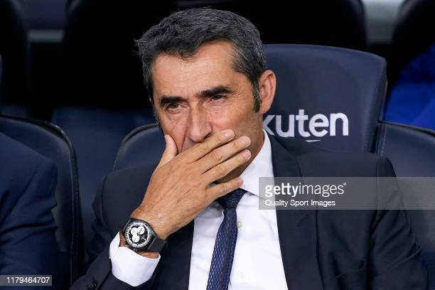 Ernesto Valverde head coach of FC Barcelona looks on prior to the Liga match between FC Barcelona and Sevilla FC at Camp Nou on October 06 2019 in...