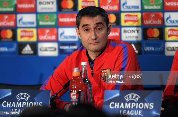 Ernesto Valverde Head coach of FC Barcelona speaks during an FC Barcelona Press Conference ahead of there Champions League last 16 match against...