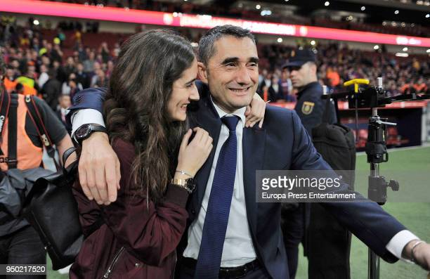Ernesto Valverde is seen at the Spanish Copa del Rey Final match between Barcelona and Sevilla at Wanda Metropolitano on April 21 2018 in Madrid Spain