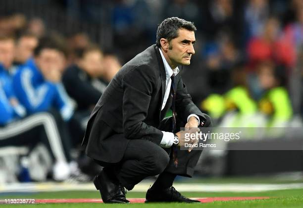 Ernesto Valverde Manager of Barcelona during the La Liga match between Real Madrid CF and FC Barcelona at Estadio Santiago Bernabeu on March 02 2019...