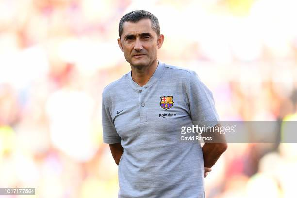 Ernesto Valverde Manager of Barcelona looks on ahead of the Joan Gamper Trophy between FC Barcelona and Boca Juniors at Camp Nou on August 15 2018 in...