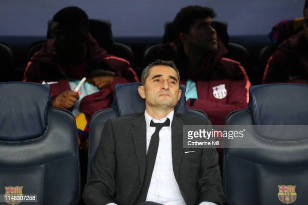 Ernesto Valverde, Manager of Barcelona looks on ahead of the UEFA Champions League Semi Final first leg match between Barcelona and Liverpool at the...