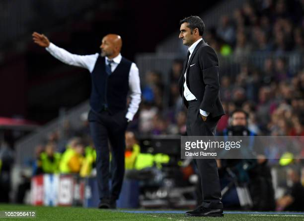 Ernesto Valverde Manager of Barcelona looks on during the Group B match of the UEFA Champions League between FC Barcelona and FC Internazionale at...
