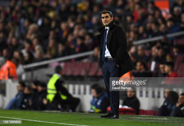 Ernesto Valverde Manager of Barcelona looks on during the La Liga match between FC Barcelona and Villarreal CF at Camp Nou on December 2 2018 in...