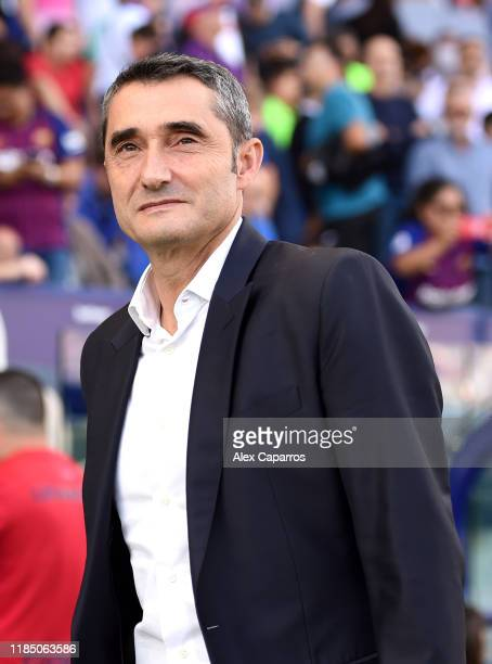 Ernesto Valverde manager of Barcelona looks on during the Liga match between Levante UD and FC Barcelona at Ciutat de Valencia on November 02 2019 in...
