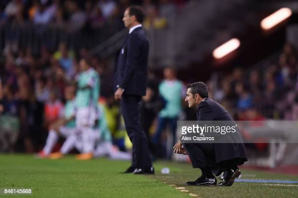 Ernesto Valverde manager of Barcelona looks on during the UEFA Champions League Group D match between FC Barcelona and Juventus at Camp Nou on...
