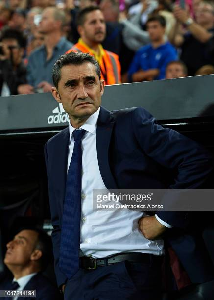 Ernesto Valverde Manager of Barcelona looks on prior to the La Liga match between Valencia CF and FC Barcelona at Estadio Mestalla on October 7 2018...