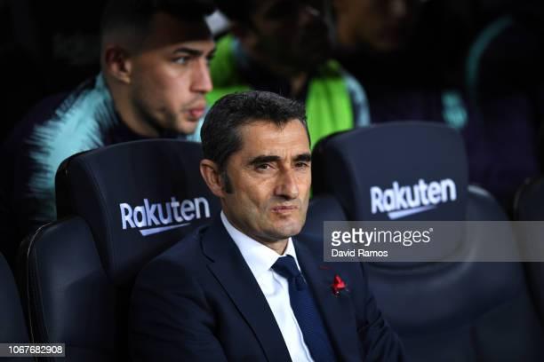 Ernesto Valverde Manager of Barcelona looks on prior to the La Liga match between FC Barcelona and Villarreal CF at Camp Nou on December 2 2018 in...